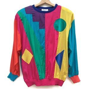 Vintage 90s Colorful Rainbow Colorblock Blouse